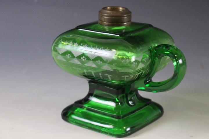 Green Glass Oil / Kerosene / Fluid Finger Lamp