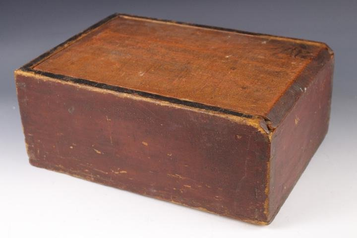 19th C Red-Painted Pine Slide-lid Candle Box