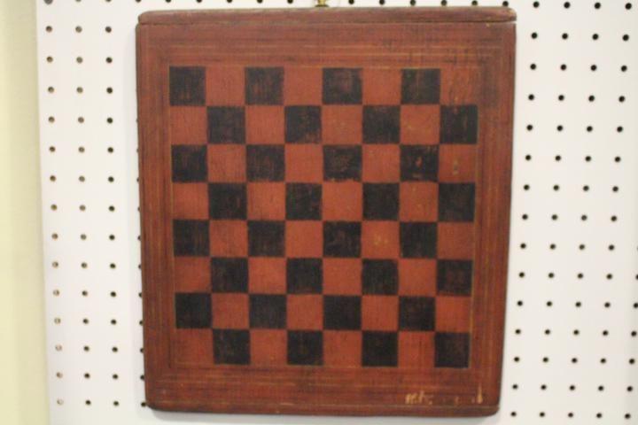 19th C Painted Folk Art Pine Checkerboard