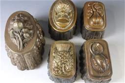 Lot of 5 Antique Copper and Tin Food Molds