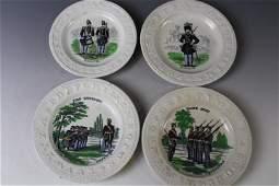 4 Staffordshire ABC Transferware Plates Soldiers