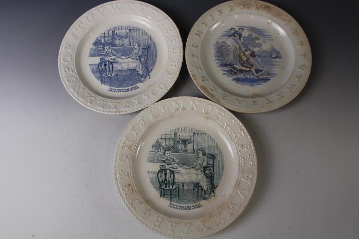 "3 Staffordshire ABC Transferware Plates 8"" W"