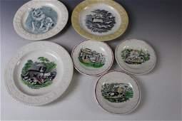 Lot of 6 Staffordshire ABC Transferware Plates