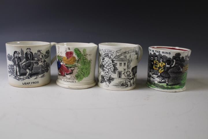 Lot of 4 Staffordshire Children's Mugs