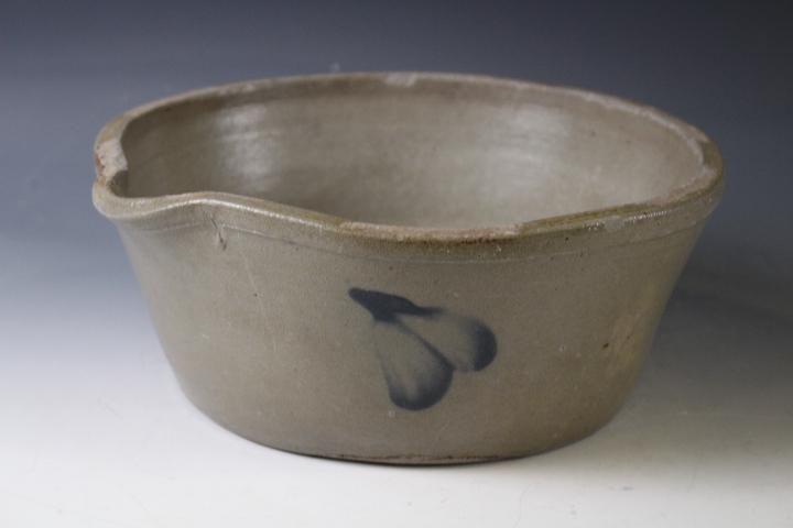Cobalt Decorated Stoneware Batter Bowl w/ Spout