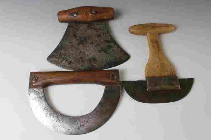 Lot of 3 Early Food Choppers - 1 w/ Wooden Shaft