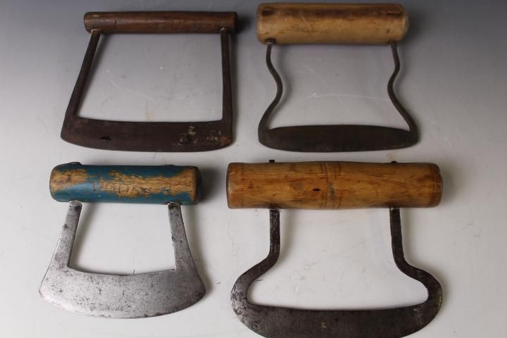 Lot of 4 Early Food Choppers Rounded Handles