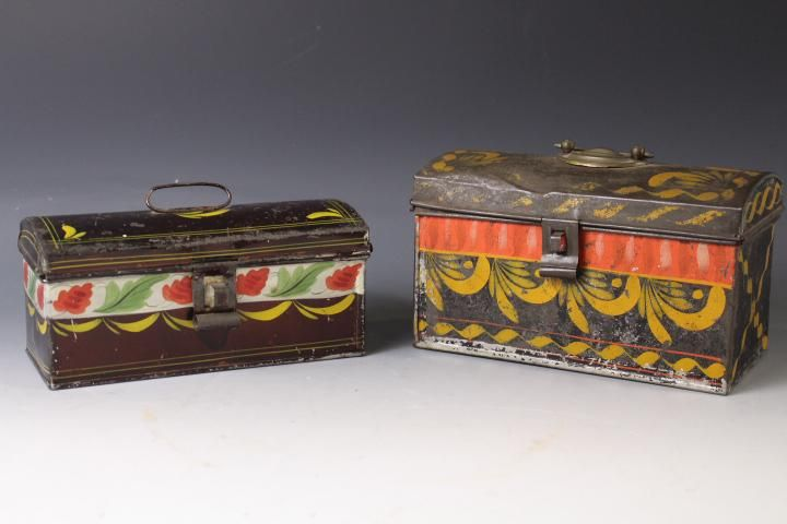 Lot of 2 Mid-19th C Toleware Document Boxes