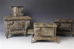 Lot of 3 Cast Iron Children's Toy Stoves