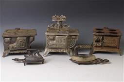 Lot of 3 Cast Iron Children's Toy Stoves & Irons