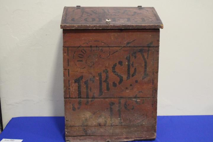 Large Red Stenciled Mercantile Store Coffee Bin
