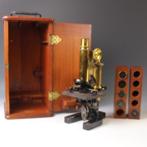Dated 1910 Microscope in Original Fitted Case