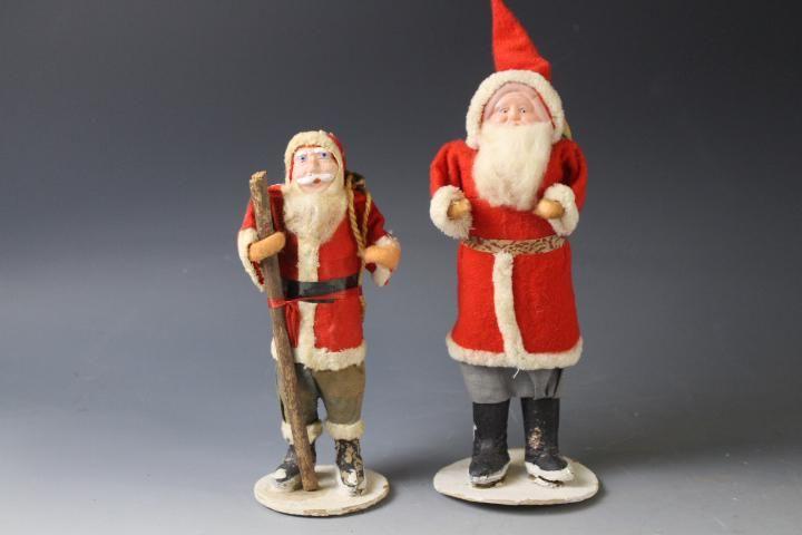 Group of 2 Felt Dressed Santa Claus Figures - Japan