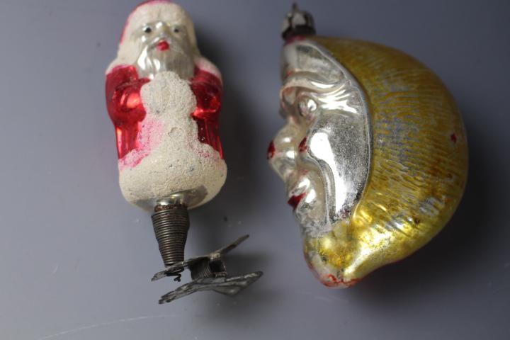 2 Germany Ornaments - Clip-On Santa  & Man Moon