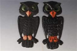2 Halloween Die Cuts Pressed Board Owls Germany