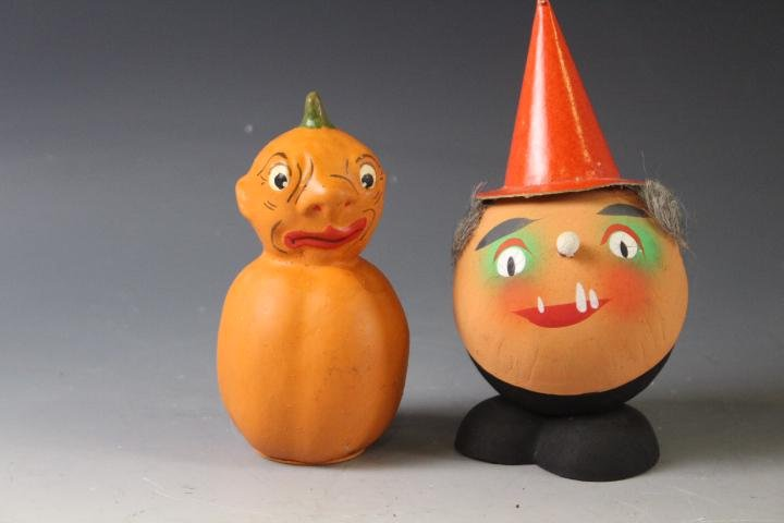 2 Papier Mache Halloween Veggie Candy Containers