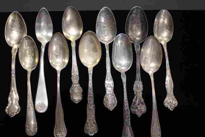 11 Antique Souvenir Spoons - Ohio Cities