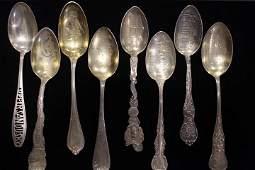 8 Antique Souvenir Spoons - Ohio Cities
