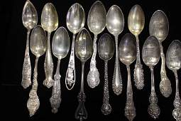 14 Antique Souvenir Spoons - US Cities & States