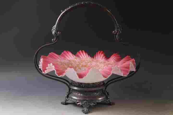Victorian Brides Basket - Pink Cased Bowl