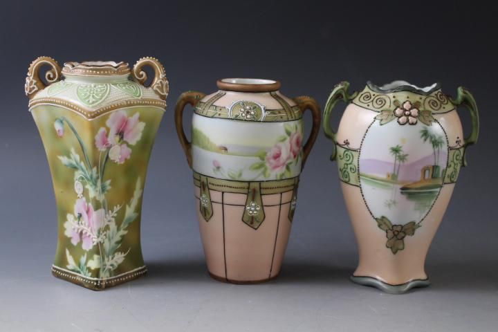 3 Hand-Painted Nippon Vases