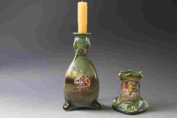 Royal Bayreuth Candlestick Holder & Match Safe