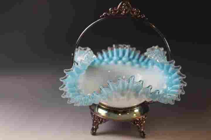 Victorian Blue Ruffle Brides Basket