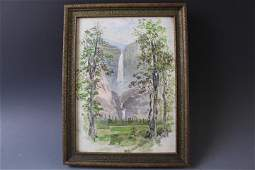 Early 20th C Impressionist Oil of Yosemite Falls