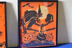 Halloween Crepe Paper Panel Witch & Cauldon