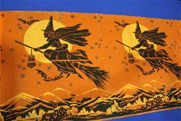 "Halloween Crepe Paper Panels Flying Witch - 56"" L"