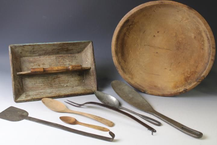 Group of Antique Wooden & Metal Kitchenware