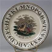 1840s ABC Plate w/ Minstrel Song Jim Along Josey