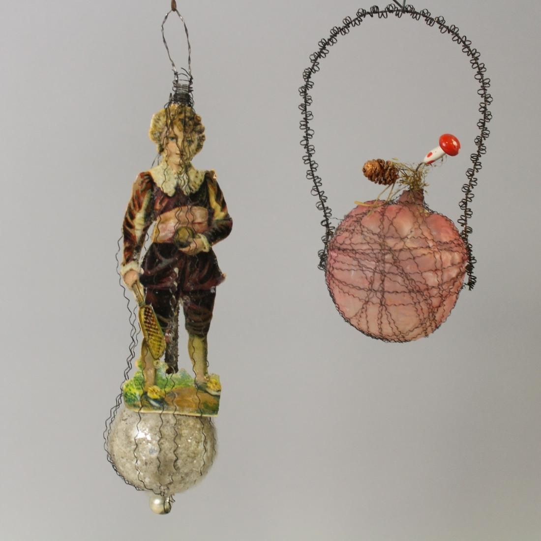 19th C Blown Glass & Wired Ornaments