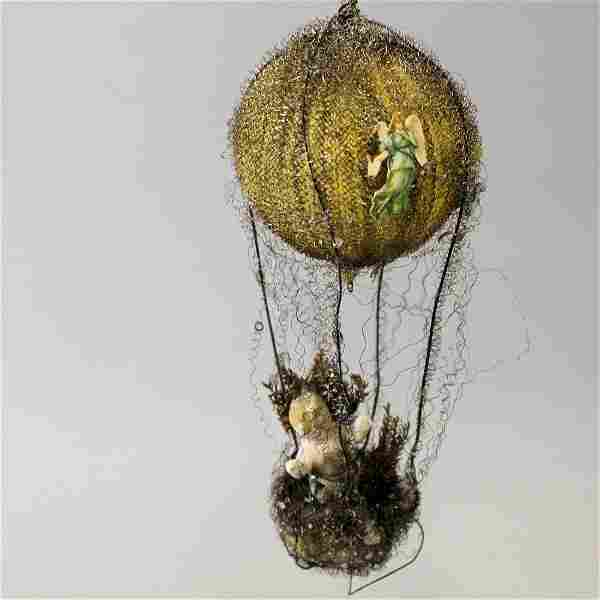 19th C Wired Hot Air Balloon w/ Wax Baby Jesus