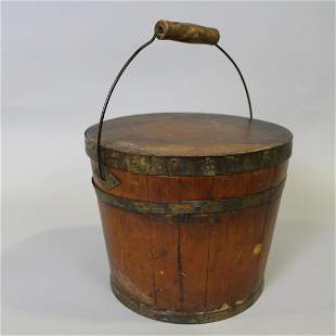 19th C Signed Shakers Lidded Pail