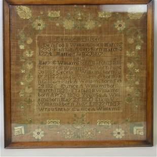 1839 Needlework Sampler Family Register