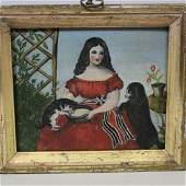 19th C Miniature Portrait of Girl w/ Cat & Dog