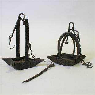 Hand-forged Iron Whale Oil / Grease Lamps