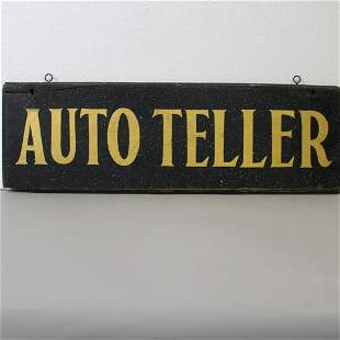 Stenciled Double-Sided Wooden Sign Auto Teller
