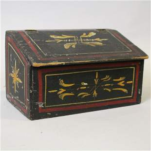 Paint Decorated Wooden Lift-Top Box