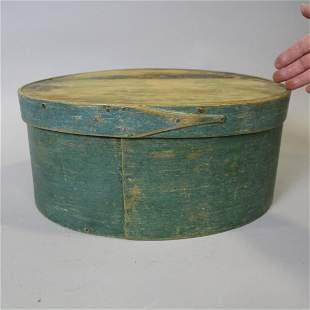 Large Early 19th C Oval Green Pantry Box
