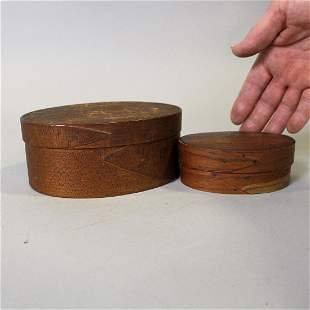 19th C 2 Small Oval Shaker Pantry Boxes