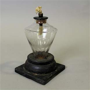 Early 19th C Make-Do Whale Oil Lamp