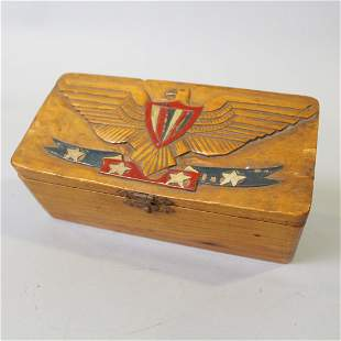 Small Pine Box w/Carved & Painted Eagle