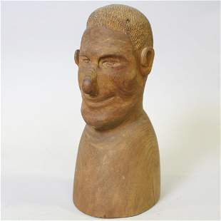 Solid Wood Carved Man's Head