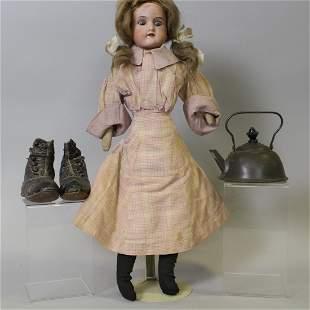 Floradora Doll Baby Hi Button Shoes Tin Teakettle