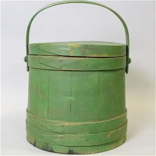 Mid-19th C Large Green Firkin