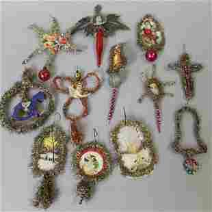 Group of Tinsel & Scrap Christmas Ornaments