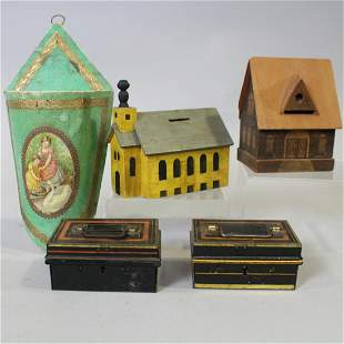 Wooden Buildings Metal Banks & Candy Container