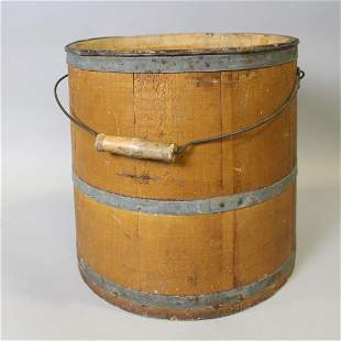 19th C Metal Banded Bucket